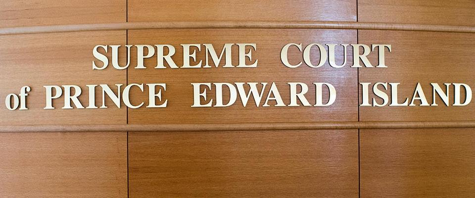 View of the Supreme Court of Prince Edward Island sign